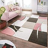T&T Design Tapis Moderne Salon À Carreaux Tendance Pastel Rose Beige Gris Crème, Dimension:60x110 cm
