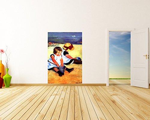 papier peint photo autocollant - autoadhésif Mary Cassatt - Vieux Maître Art Peinture - Les enfants sur la plage - 90x135 cm - Décoration - Tableau mural - Affiche murale - Images murales