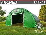 Dancover Rundbogenhalle Lagerzelt Zeltgarage Garagenzelt 9,15x12x4,5m, PVC Grün