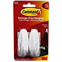 Command Designer Medium Hooks W/Adhesive 2/Pkg-White