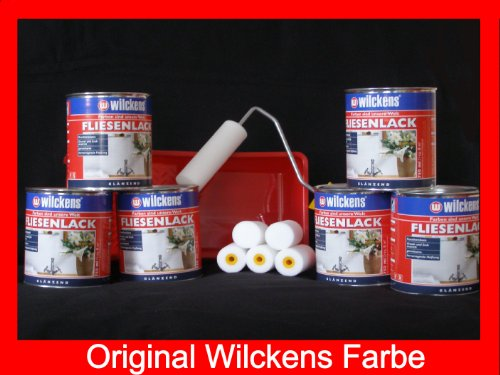 6 Dosen FLIESENLACK inkl. FARBROLLER WILCKENS weiß für 48 qm