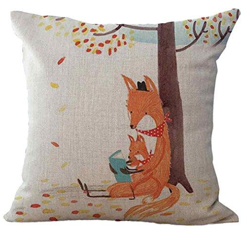Elecenty cuscino di lino,carino volpe quadrato cuscino cover cuscino caso toss chiusura fodera per cuscino decorativo federa per la casa (c)