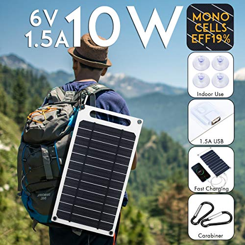 HMLIGHT 10W 6V 1500mA Monokristalline Solar Power USB Handy Photovoltaik Lade Panel-Energien-Bank w Suckers & Karabiner