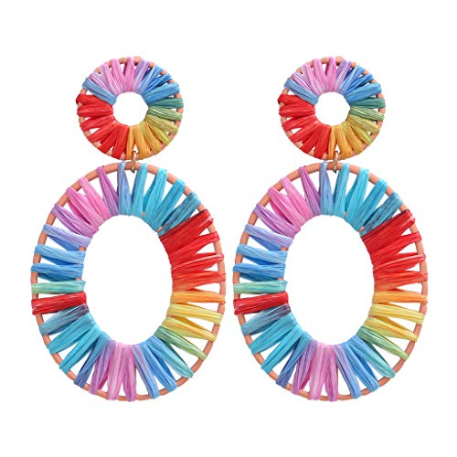 n, Frauen Schmuck Ohrhänger - Böhmisches Rattan Handgemachte Bast Geometrische Ovale Ohrringe Damen Schmuck ()