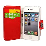 Gr8 value Apple iPhone 4 4S 4G Luxury PU Leather Wallet Cover Flip book Phone Mobile case PU Leather Flip Case Cover (iPhone 4 4S 4G Red bk)