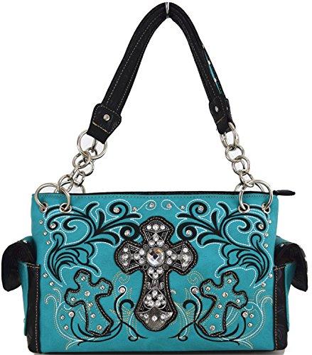 Blancho Biancheria da letto delle donne [Croce Satchel] PU Leather Bag Set Elegante Portafoglio Hanbag Combo Bag borsa di modo TURCHESE COMBO-TURQ