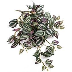 artplants Set 2 x künstliche Tradescantia PACO, grün-weiß-violett, 50 cm - Kunst Dreimasterblume/Deko Zebrakraut