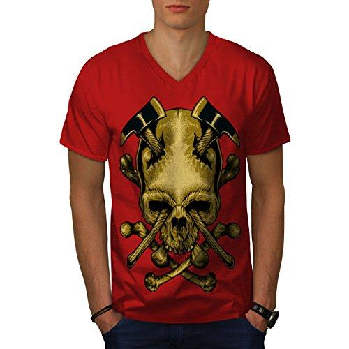 wellcoda AXT Tod Gote Krieg Schädel Männer XL V-Ausschnitt T-Shirt