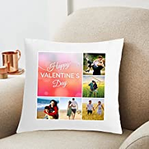 Happy Valentine Day Customized Photo Printed Cushion 12X12 Pillow Cover with Filler- Best Love Gift Idea