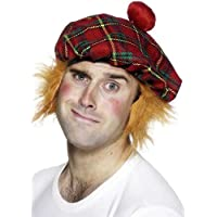 Smiffys Tam-O-Shanter Tartan Hat with Hair and Pom Pom