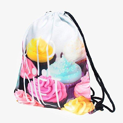 Lässige Mode für Frauen Cartoon 3D Digital gedruckten Kordelzug Rucksack Oxford Rucksack Umhängetaschen Sporttasche Wandern Packs Mädchen Hüfttasche für Männer Geldgürtel Reisetasche, Oxford Oxford