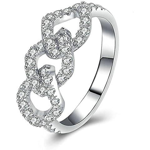 (Personalizzati Anelli)Adisaer Anelli Donna Argento 925 Anello Fidanzamento Incisione Gratuita Triple Circle Anello Diamante