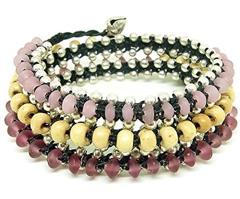 LUN NA Asian Handmade Wrap Bracelet Bohemian Fashion Pink Glass Beads White Wood beads Wax String