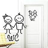 """Wandtattoo Loft """"Toilet stickers"""" Men and Female in Black Door decal Bathroom toilet Door sign Sticker"""