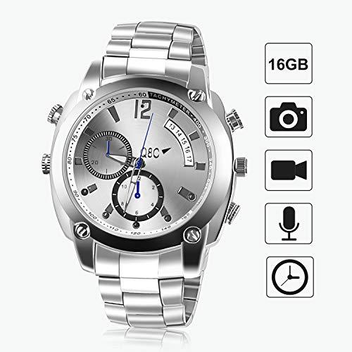 Mini Kamera,FLYLINKTECH HD 1080P Spy Watch 16 GB Mini Cam Uhr mit Wasserdichter Funktion und Nachtsicht(Aktualisierte)