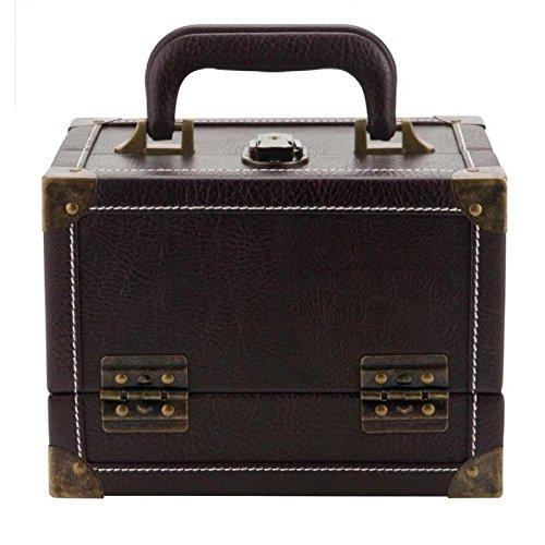 Prym Antik Look Nähen/Mustertuch Trunk-Style aufklappbar ausziehbar Fall mit SB-Tag und Metall Koffer Verschlüsse, Kunstleder, braun, mittlere