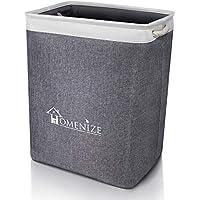 HOMENIZE Moderner Wäschekorb faltbar aus natürlichem Stoff - Wäschesammler groß vereinfacht Ihre Ordnung – Exzellent auch für Das Kinderzimmer – Laundry Basket - 40 x 30 x 54cm (65 Liter)