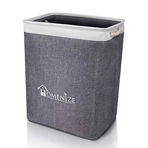 HOMENIZE Moderner Wäschekorb faltbar aus natürlichem Stoff - Wäschesammler groß vereinfacht Ihre Ordnung – Exzellent auch für das Kinderzimmer – Laundry Basket - 40 x 30 x 54cm (65 Liter) (Faltbare Stoff Baskets)