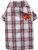 Doggy Dolly S030Perros Camisa con pescado bordado, diseño de cuadros, color rojo
