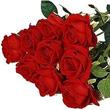 QHGstore Artificiales de Rose de la franela de las flores artificiales real similar a la boda de la decoración del hogar rojo PC 1