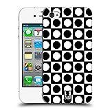 Head Case Designs Punkte Schwarz-Weiss Muster Ruckseite Hülle für Apple iPhone 4 / 4S