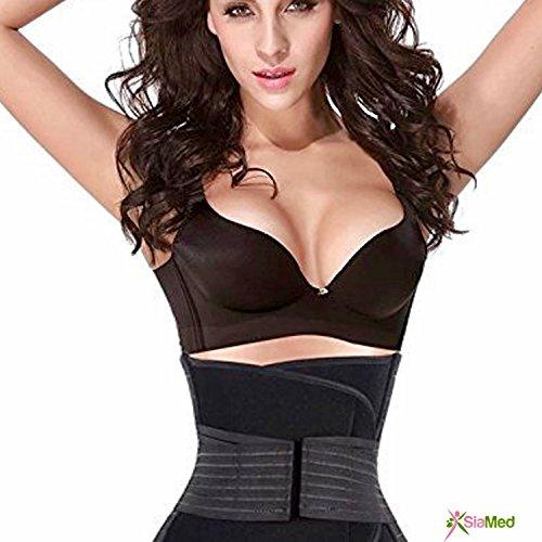 SiaMed Bauchweggürtel für Damen und Herren - Taillenformer - perfekte Abnehmhilfe für einen Straffen Bauch (schwarz, 85 cm)