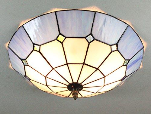 Gweat 16-Zoll-Europäischen Retro-Stil Tiffany Mediterranee Blau-Buntglas-Unterputz Deckenleuchte Esszimmer Licht (Deckenleuchte 22 Tiffany)