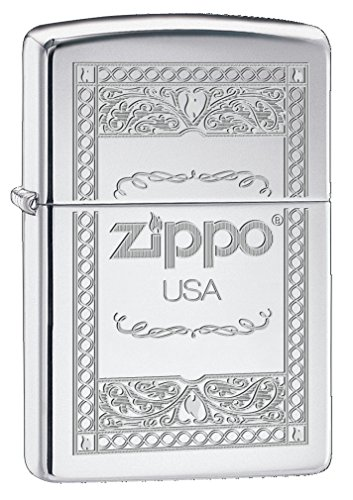 Zippo 60001055 USA Frame 2 Feuerzeug Messing High Polish chrom 3,5 x 1 x 5,5 cm (Frames Usa)