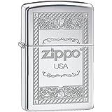 Zippo 60001055 USA Frame 2 Briquet Laiton High Polish Chromé 3,5 x 1 x 5,5 cm