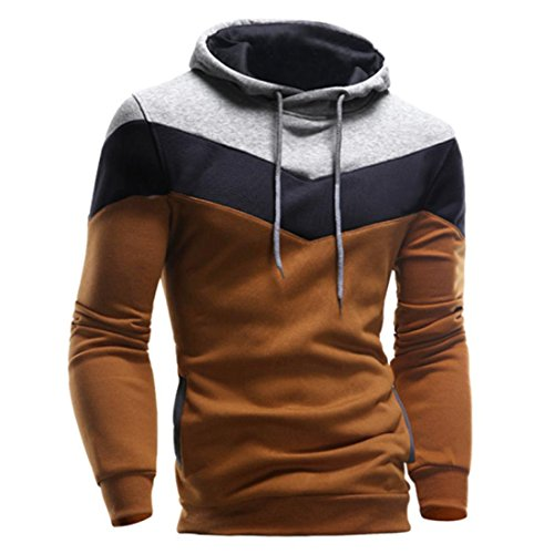 Hoodie Sweatshirt Herren Btruely Herbst Winter Lose Retro Männer Pullover Langarm Outwear (XL, Kaffee)