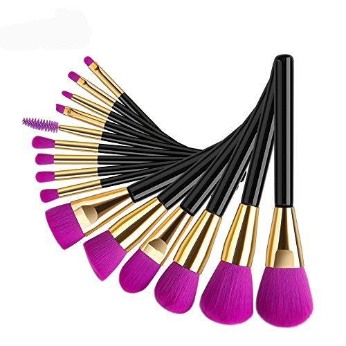 Brosse de maquillage, 15 Pcs/Set Noir Manche Pourpre Fondation Brosse Mélange Poudre Ombre à Paupières Contour Concealer Beauté Cosmétique Pinceau Jouet Outil Kit (Color : Purple)