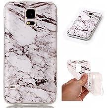 Funda Samsung Galaxy S5 i9600, SpiritSun Carcasa Gel Transparente para Samsung Galaxy S5 i9600 Ultra Fina Flexibilidad Silicona TPU Alta Resistencia Choque Absorción Parachoques con Patrón de Mármol - Blanco