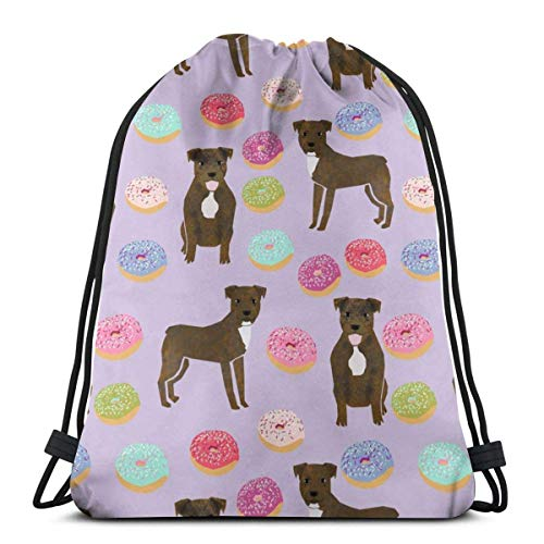Brindle Pitbull Cute Pittys and Donuts Design Purp Special Backpack Sack Bag Gym Bag for Men & Women 17 X 14 Inch