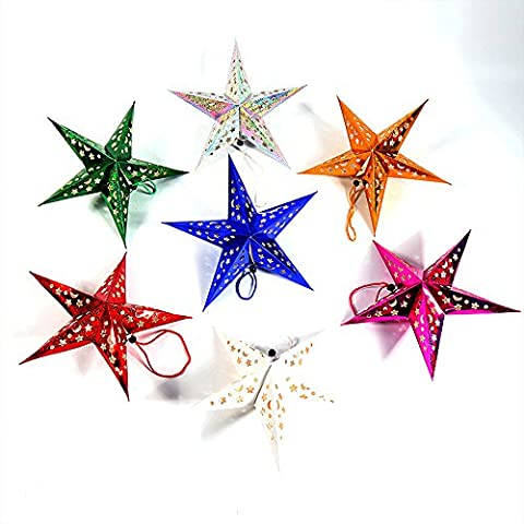 Newlemo Paper Star Lantern/Lampshade Handmade Paper Star Pentagram Lampshade for Valentine's Day/Wedding/Party/Home/Hanging Decor,12 Inches,Set of (Famiglie Luce Ciondolo Pendente)