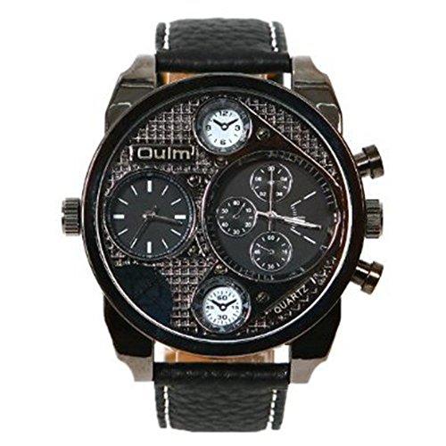 DAYAN High Quality Männer groß Zifferblatt 2 Zeitzone Militär- Handgelenk Uhren schwarz