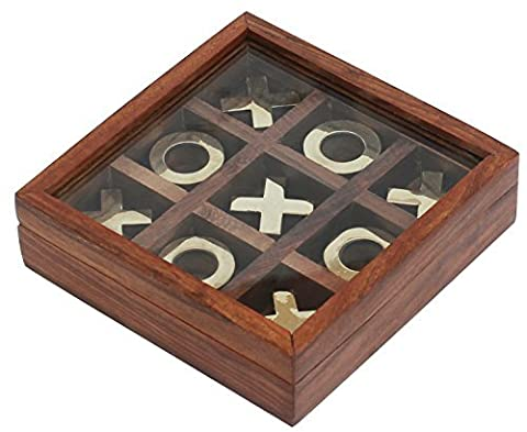 Tic Tac Toe Board Game - Wooden Noughts and Crosses / XOXO Storage Travel Box Set with Glass Lid – Handmade Rosewood Unique Centerpiece Table / Desk / Floor / Indoor / Outdoor Brain / Puzzle / IQ Game from