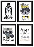 PICSonPAPER Kinder Poster 4er-Set Adventure, schwarz gerahmt DIN A4, Dekoration fürs Kinderzimmer im skandinavischen Stil, Illustrationen, Kinderposter (Schwarz gerahmt DIN A4)
