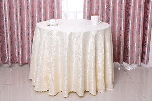 Grand Restaurant Housse pour Table ronde rose imprimé damassé 78/102/304,8 cm Nappe ronde, 100 % polyester/polyester, beige, 118 Inches
