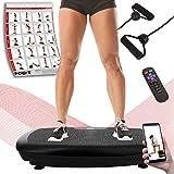 POWRX Vibrationsplatte Basic Duo inkl. Workout I Fitness Trainingsgerät inkl. Fernbedienung und Tubes Widerstandsbänder I Große Rutschfeste Fläche für Ganzkörper Training (Schwarz)
