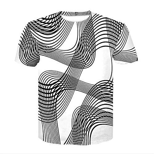 Bären Custom Schwarz T-shirt (Männer Frühling Sommer Männer T-Shirts 3D Gedruckt Tier t-Shirt Kurzarm Lustige Design Casual Tops Tees Männlich,3D Casual Geometric Schwarz und Weiß - B 2XL)