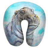 longkouishilong Nackenhörnchen U Shaped Pillow Neck Baby Hippo Travel Multifunctional Pillow Car Airplane Seitenschläferkissen