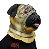 CreepyParty Festa in Costume di Halloween Maschera in Lattice a Testa di Animale Carlino Cane Pug Bulldog