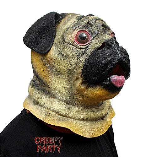 CreepyParty Halloween Kostüm Party Tierkopf Latex Maske Mop Hund Bulldogge