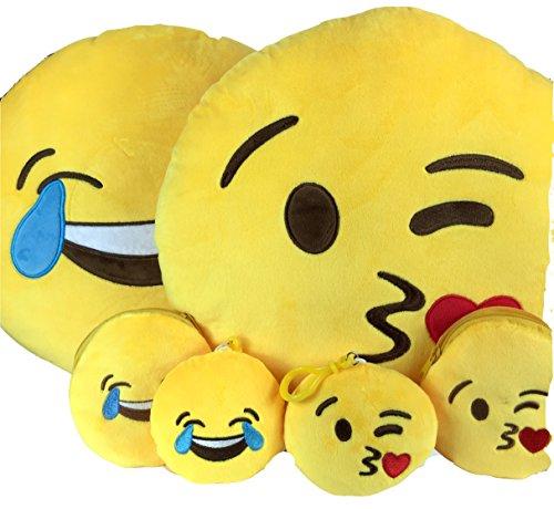 Emoji-Kissen kostenlosem Schlüsselanhänger Kette & Soft Geld Geldbörse Münzfach Smiley Fake Poop Überwurf Emoticon Kissen Cute geformte Plüsch Love gelb gefüllt rund groß Geschenk Set Bundle braun Funny Toy Merchandise Neuheit Zubehör Alles für Kinder prime (Poop) Laughter & Kisses (Collector Card Display Case)