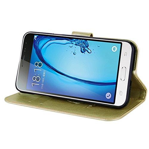 Coque Samsung J3 (2016) Anfire Fleur Motif Peint Mode Coque PU Cuir pour Galaxy J3 (2016) Etui Case Protection Portefeuille Rabat Étui Coque Housse pour Samsung Galaxy J3 / J3 (2016) / SM-J320FN (5.0  Or