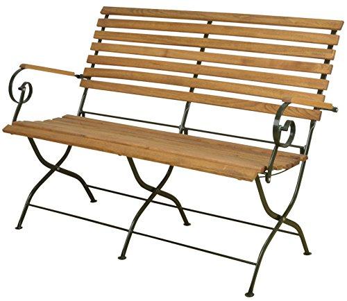 Esschert Design Klappbank aus Holz/Metall, 132 x 64 x 89 cm, in edler Optik, klappbar, in Farbe grün