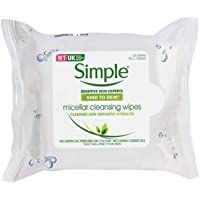 Simple Kind To Skin Micellar (Make Up Remover) Cleansing Wipes, No Color, No Added Perfume, No Harsh Chemicals, 25 Pcs