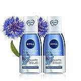 NIVEA Démaquillant Yeux Double Action au Bleuet (2x125 ml), nettoyant visage enrichi en eau purifiée, soin visage femme pour tous types de peaux, format voyage