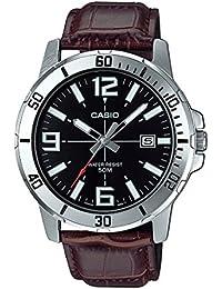 Casio Mtp-vd01l-1bv pour Homme Enticer en Acier Inoxydable Cadran Noir décontracté analogique Sportif Montre