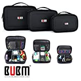 3 x BUBM Multiple Function Accessories Storage Carry Bag CASE USB Cable Memory Card Power Cord Battery Storage Mobile Disk Bag case Triple Set Large, Medium Small